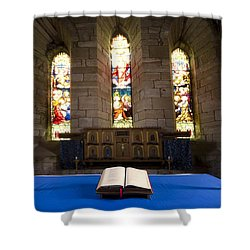 Church And Open Bible, Holy Island Shower Curtain by John Short