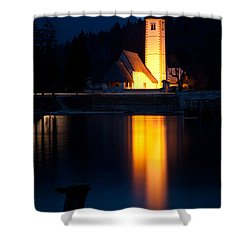 Church At Dusk Shower Curtain