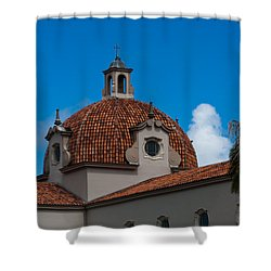 Shower Curtain featuring the photograph Church Of The Little Flower Dome And Cross by Ed Gleichman