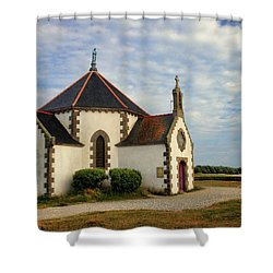 Shower Curtain featuring the photograph Church Off The Brittany Coast by Dave Mills