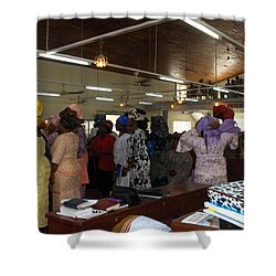 Church Service In Nigeria Shower Curtain by Amy Hosp