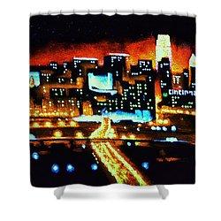 Cincinnati By Black Light Shower Curtain by Thomas Kolendra