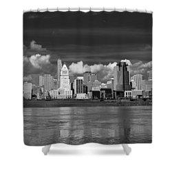 Cincinnati Skyline Bw Shower Curtain by Keith Allen
