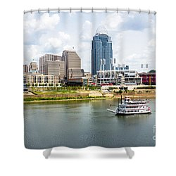 Cincinnati Skyline With Riverboat Photo Shower Curtain by Paul Velgos