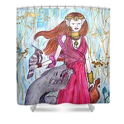 Circe The Sorceress Shower Curtain by Koral Garcia