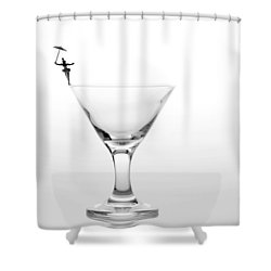 Circus Balance Game On Cup Edge Shower Curtain by Paul Ge