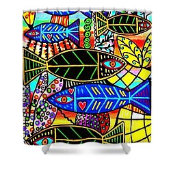 Citrine Coral Fish Shower Curtain