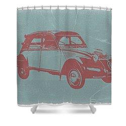 Citroen 2cv Shower Curtain by Naxart Studio