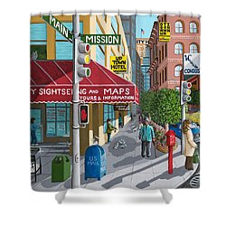 City Corner Shower Curtain by Katherine Young-Beck