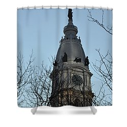 City Hall Tower Philadelphia Shower Curtain by Bill Cannon