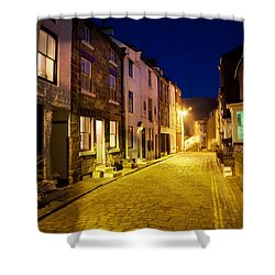 City Street At Night, Staithes Shower Curtain by John Short