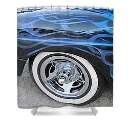 Classic Car Blue Flame 4 Shower Curtain by Anita Burgermeister