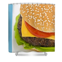 Classic Hamburger With Cheese Tomato And Salad Shower Curtain by Ulrich Schade