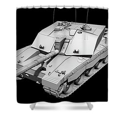 Clay Render Of A Challenger II Tank Shower Curtain by Rhys Taylor