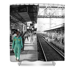 Cleaner At The Train Station Shower Curtain by Sumit Mehndiratta