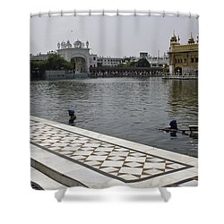 Clearing The Sarovar Inside The Golden Temple Resorvoir Shower Curtain by Ashish Agarwal