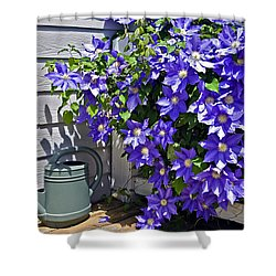 Clematis And Watering Can Shower Curtain