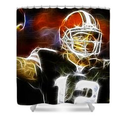 Cleveland Browns Colt Mccoy Shower Curtain by Paul Van Scott