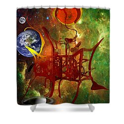Clock Of Universe Shower Curtain by Helmut Rottler