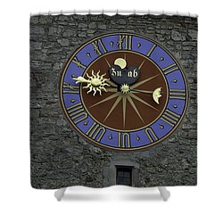 Clocktower In Lucerne On A Stone Tower Shower Curtain by Ashish Agarwal
