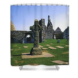 Clonmacnoise, Co Offaly, Ireland, West Shower Curtain by The Irish Image Collection