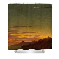 Close Of The Day - Sunset On The Coast Shower Curtain by Alexander Cozens