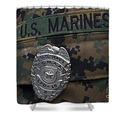 Close-up Of A Duty Master-at-arms Badge Shower Curtain by Stocktrek Images