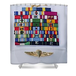 Close-up View Of Military Decorations Shower Curtain by Michael Wood