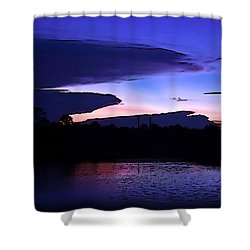 Shower Curtain featuring the photograph Clouded Sunset Over The Tomoka by DigiArt Diaries by Vicky B Fuller