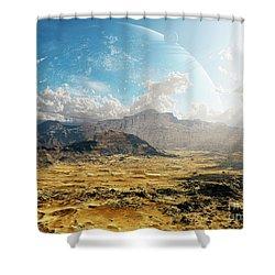 Clouds Break Over A Desert On Matsya Shower Curtain by Brian Christensen