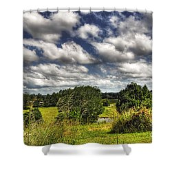Clouds Floating Over Green Countryside Shower Curtain by Kaye Menner