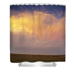 Clouds Over Canola Harvest, Saint Shower Curtain by Yves Marcoux