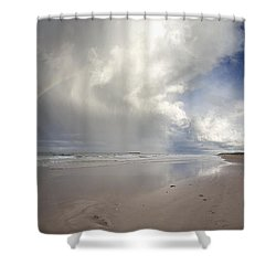 Clouds Reflected In The Shallow Water Shower Curtain by John Short