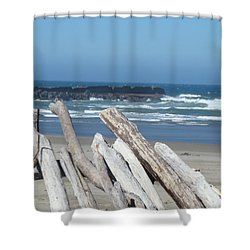 Coastal Driftwood Art Prints Blue Sky Ocean Waves Shower Curtain by Baslee Troutman