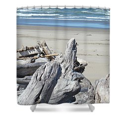 Coastal Driftwood Art Prints Blue Waves Ocean Shower Curtain by Baslee Troutman