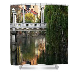 Cobblers Bridge And Morning Reflections In Ljubljana Shower Curtain by Greg Matchick