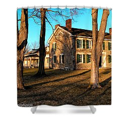 Shower Curtain featuring the photograph Cobblestone And Long Shadows by Rachel Cohen