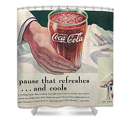 Coca Cola 1937 Shower Curtain by Georgia Fowler