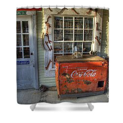 Coca Cola Cooler Randsburg Shower Curtain by Bob Christopher