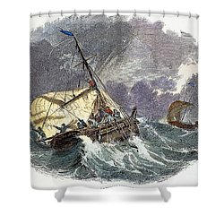 Cod Fishing In New England Shower Curtain by Granger