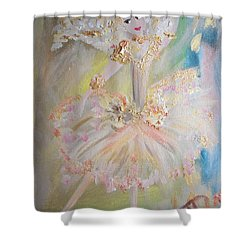 Shower Curtain featuring the painting Coffee Fairy by Judith Desrosiers