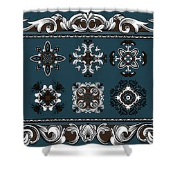 Coffee Flowers Ornate Medallions 6 Piece Collage Mediterranean Shower Curtain by Angelina Vick