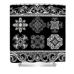 Coffee Flowers Ornate Medallions Bw 6 Piece Collage Framed  Shower Curtain by Angelina Vick
