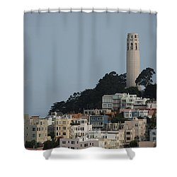 Shower Curtain featuring the photograph Coit Tower by Eric Tressler