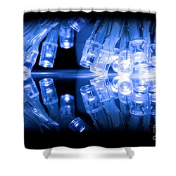 Cold Blue Led Lights Closeup Shower Curtain