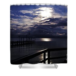 Shower Curtain featuring the photograph Cold Night On The Water by Clayton Bruster