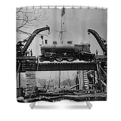Collapsed Bridge And Train Recovery Shower Curtain by M E Warren and Photo Researchers