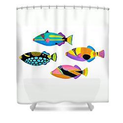 Collection Of Trigger Fishes Shower Curtain by Opas Chotiphantawanon