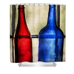 Collector - Bottles - Two Empty Wine Bottles  Shower Curtain by Mike Savad