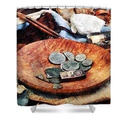 Colonial Coins Shower Curtain by Susan Savad